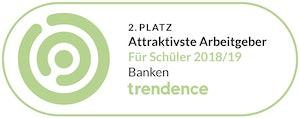 2. Platz Attraktivste Arbeitgeber für Schüler 2018/19 Banken